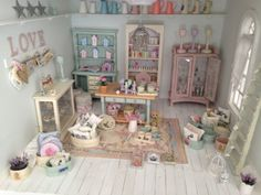 Shabby Chic 1/12th Dolls House Corner Shop Handmade Cake Shop and Gift-Shop