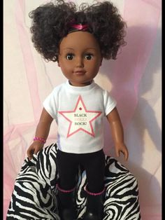 "Natural Hair Afro Puff Girls Are Back ""Black Dolls Rock!"" by LanaDollCreations on Etsy"