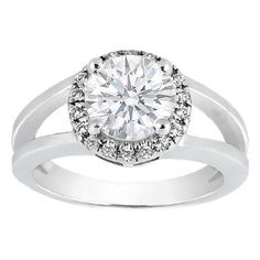 Round Diamond Split Shank Halo. Like it. Even without the diamonds on the band.