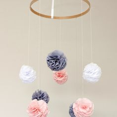 Pom Pom Baby Mobile - Baby Pink, Grey and White by Max & Me Homewares
