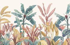 Dusty Pink & Green Tropical Minimalist Wallpaper Mural   Hovia