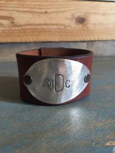 monogram {leather cuff}