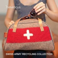 how cool are these bags from the Swiss army recycling collection from helveticus. They are made out of old Swiss army blankets. fashionable and sustainable. Buy Gifts Online, Swiss Design, Bowling Bags, Swiss Army, Bag Making, Fashion Bags, Straw Bag, Bag Accessories, Shoulder Bag
