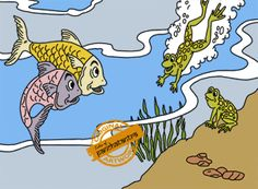 The Tale Of Two Fishes And A Frog - Panchatantra Story Picture