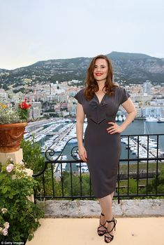 Elegant: Hayley Atwell looked super chic in a figure-hugging dress as she posed at the Mon...