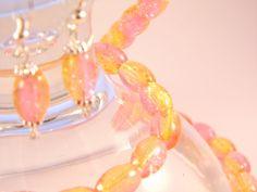 Yellow & Pink Crackle Glass Beads 10 x Jewelry Set Glass Jewelry, Jewelry Sets, Glass Beads, Crackle Glass, Femininity, Amp, Yellow, Bracelets, Earrings