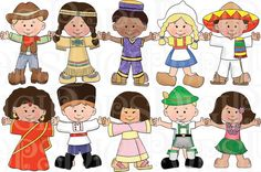 Children of the World Dress Up Digital Clip Art Set by DigiPops