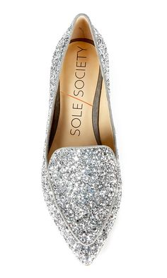 Make a statement in this silver glitter smoking slipper