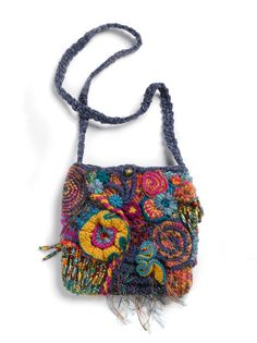 cochete freeform | Shoulder Bag OOAK Freeform Crochet Mardi Gras by rensfibreart