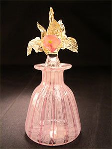 Italian Latticino Art Glass Antique Perfume Bottle with Floral Stopper, posted via news-antique.com