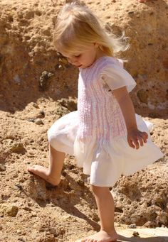 Silk dress pastel and white, nuno felted dress for a toddler girl. $115.00, via Etsy.