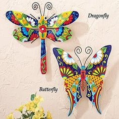 Collections Etc Colorful Metal Mexican Talavera-Style Insect Garden Wall Art for Indoor and Outdoor Decoration, Dragonfly Metal Butterfly Wall Art, Metal Tree Wall Art, Metal Wall Decor, Dragonfly Art, Metal Art, Butterfly Mosaic, Mexican Wall Art, Mexican Bedroom, Garden Wall Art