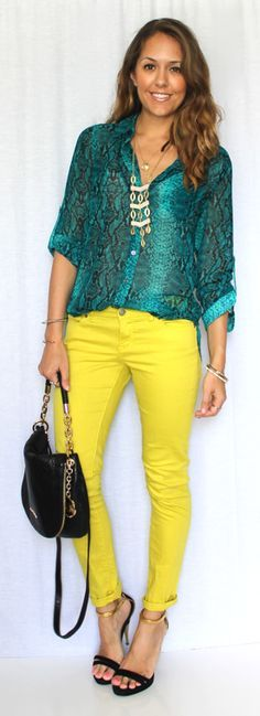 Image result for how to style bright yellow pants