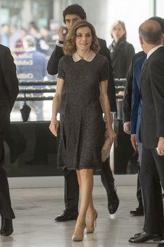Queen Letizia in an adorable collared dress at a medical congress in Bilbao, Spain.