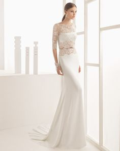 Designer Rosa Clará creates dreamy wedding and evening gowns for women seeking that elusive blend of elegance, allure and sophistication. Fantasy Wedding Dresses, Rosa Clara Wedding Dresses, Bridal Dresses, Wedding Gowns, Skinny Wedding Dress, Gorgeous Wedding Dress, Beautiful Gowns, Mod Wedding, Wedding Bride