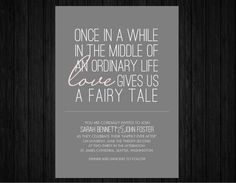Love the wording. Printable Fairy Tale wedding invitation suite RSVP & by JuleryB, $35.00