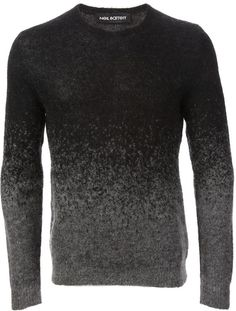Neil Barrett knit sweater, Grey and black wool and mohair knit sweater from Neil Barrett featuring a ribbed round neck, long sleeves, a ribbed hem and cuffs and a tonal gradient effect.