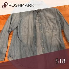 Blue denim color button up Blue denim colored button up with silver studs on collar Apt. 9 Tops Button Down Shirts