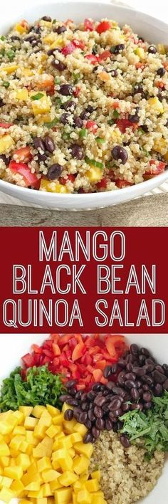 Mango black bean quinoa salad is a light, healthy, and filling salad. Hearty quinoa and black beans, crisp red peppers, green onions, and cilantro all covered in an easy olive oil vinaigrette dressing. It's also great for lunch too! Bean Salad Recipes, Quinoa Salad Recipes Easy, Mango Quinoa Recipes, Healthy Bean Salads, Healthy Dressing For Salads, Dressing For Quinoa Salad, Wuinoa Salad, Healthy Salad Dressings, Mango Recipes For Dinner