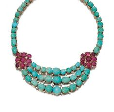 Ruby, turquoise and diamond necklace, 1950s
