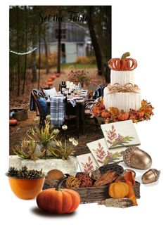"""""""Fall Table"""" by yvettemmh ❤ liked on Polyvore featuring interior, interiors, interior design, home, home decor, interior decorating, Crate and Barrel, Northlight Homestore, ZiaBella and setthetable"""