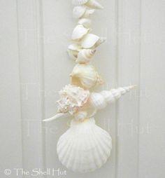Seashell Garland Front Door Wreath Vertical Wall Hanging Beach House Shell Rope #Handmade