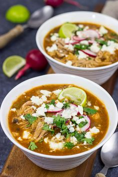 Slow Cooker Pork Posole is an easy dish to make on chilly Fall and Winter days.  It's packed with shredded pork and traditional Mexican flavors for a hearty and delicious meal!