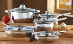 """8 PC Stainless Steel Cookware Set $34.97  - Includes 2 covered saucepans, 7"""" sauce pan holds 1.8-qt; 6 1/3"""" sauce pan holds 1.1-qt.; 7 7/8"""" Dutch oven holds 2.42-qt.; 9 1/2"""" large frying pan and 7 7/8"""" small frying pan. Metal/tempered glass."""