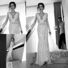 Illusion Long Sleeve 2015 Wedding Dresses Pluning V Neck Backless Mermaid Bridal Gowns Lace Lihi Hod Orchid Applique Ruched Vintage Lace A Line Wedding Dress With Sleeves Big Princess Wedding Dresses From Whiteone, $159.8| Dhgate.Com