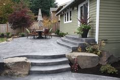How To Find Backyard Porch Ideas On A Budget Patio Makeover Outdoor Spaces. Upgrading your backyard with a decorative concrete patio is likewise an in. Concrete Patios, Concrete Backyard, Concrete Patio Designs, Cement Patio, Backyard Patio Designs, Diy Patio, Backyard Landscaping, Landscaping Ideas, Pergola Ideas