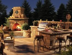 Outdoor Kitchen Ideas-4.... I so didn't think of doing this, always imagined it on the back porch....