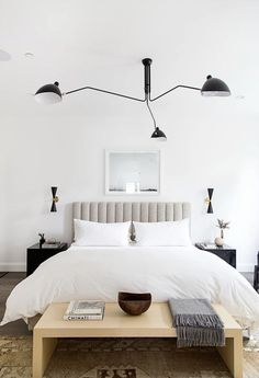 This composed contemporary bedroom by JDP Interiors is modern and eclectic. We created it for less! modern eclectic bedroom for less copycatchic luxe living for less budget home decor and design daily finds and room redos Contemporary Bedroom, Modern Bedroom, Master Bedroom, Master Suite, Neutral Bedrooms, Bedroom Boys, Bedroom Green, Bedroom 2018, Bedroom Romantic