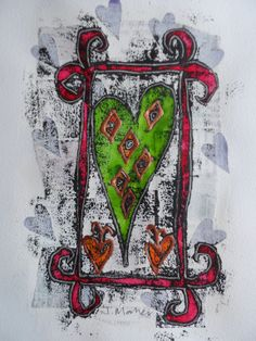 Green heart red frame. Monoprint over collage and gesso with painting and embellishment