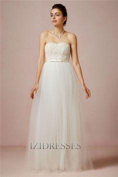 Ball Gown Strapless , Sweetheart Tulle Wedding Dress - IZIDRESSES.com