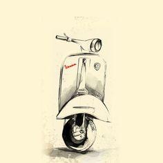 Vespa Art Print by Juan Alonzo Worldwide shipping available at Just one of millions of high quality products available Vespa Gts, Vespa Sprint, Vintage Vespa, Motos Vintage, Retro Vintage, Lambretta, Piaggio Vespa, Motorcycle Art, Bike Art