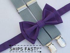 Eggplant Purple Bow Tie & Light Grey Suspenders by armoniia Suspenders Outfit, Lilac Wedding, Dream Wedding, Wedding Colors, Wedding Outfit For Boys, Purple Bow Tie, Black Baby Boys, Ring Boy, Gray