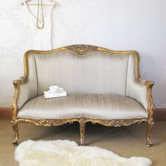 Versailles Gold Bedroom Sofa with Silk Upholstery, French Bedroom Company Small Couch In Bedroom, Bedroom Couch, Sofa Couch, Gold Bedroom, Chaise Sofa, Couches, Surf Bedroom, Bedroom Seating, Comfy Sofa