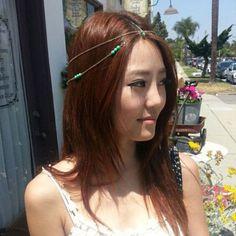 Boho Rhinestone Turquoise Beads Head Chain Headband Headpiece Hair Band Hair Jewelry