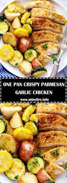 One Pan Crispy Parmesan Garlic Chicken with Vegetables will be one of the best one pan meals you ever make. The tender and juicy baked chick. New Chicken Recipes, Chicken Parmesan Recipes, Garlic Chicken, Garlic Parmesan, Baked Chicken Marinade, Juicy Baked Chicken, Easy Dinner Recipes, Easy Meals, Easy Recipes