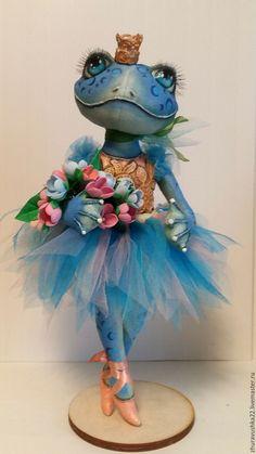 Купить Голубая лягушка балерина. Текстильная кукла. Резерв. - голубой, лягушка, балерина, интерьерная кукла