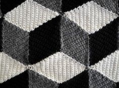 Isometric Blanket / Afghan - Geometric Black White & Grey Crochet