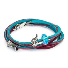Leather Bracelet Turquoise/Plum - Trollbeads.com