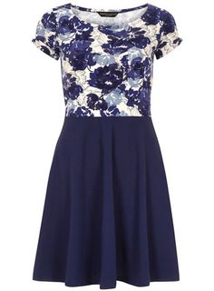 Blue floral 2in1 dress - Casual Dresses  - Dresses