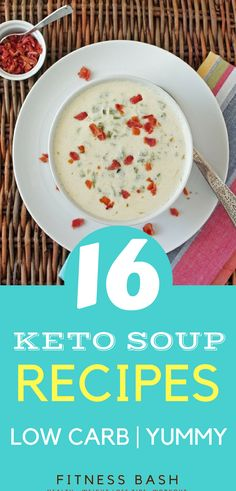 Low carb keto soup recipes for a ketogenic diet. Try the new keto soup ideas to be in ketosis. from Fitness Bash Low Carb Meal Plan, Low Carb Keto, Low Carb Recipes, Soup Recipes, Whole Food Recipes, Diet Recipes, Chicken Recipes, Keto Soup, Clean Eating Snacks