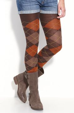 I Love these (and all) opaque tights, especially when they are fun like these argyle. The boots are cute too...leave the cutoff jean shorts back in the 70's/ 80's. This look would be cute with some wool shorts that are dressier; just 1 girl's opinion!
