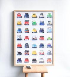 """Nouvelle affiche """"Les petites auto""""   leshappyvintage.fr  vintage cars vintage vw  bettle combi cox"""