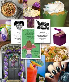 Favorite Mardi Gras Ideas from Mardi Gras Invitations to food, cupcakes and decorations.