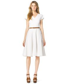 Michael Kors Cap-Sleeve Linen Dress