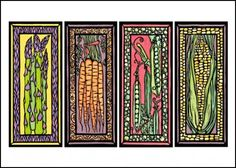 Veggies Blank Greeting Card - Vegetable Images - Sarah Angst Fine Artist & Printmaker - original art created in Bozeman, Montana - www.sarahangst.com - #sarahangst