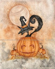 Halloween Kitty witch black cat PRINT by Amy Brown Halloween Kunst, Halloween Fairy, Halloween Artwork, Halloween Painting, Halloween Drawings, Halloween Pictures, Holidays Halloween, Happy Halloween, Halloween Prints